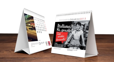 desktop calendar for Italian Cultural Institute and Embassy of Italy in Finland